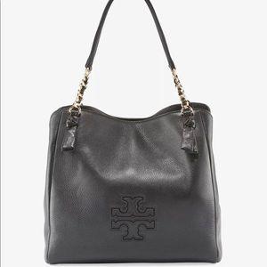 Tory Burch Harper Zip Tote Black Leather Satchel
